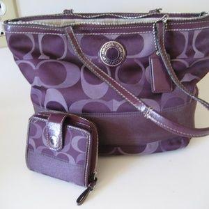 COACH purple logo purse & wallet